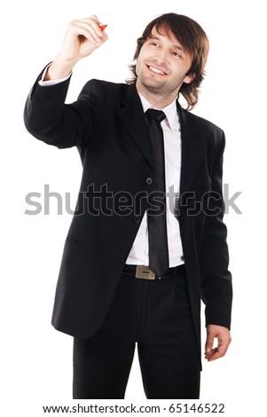 Elegant businessman writing something with a marker, white background - stock photo