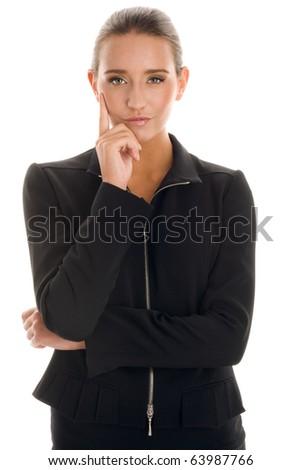 Elegant businesswoman wearing black suit - stock photo