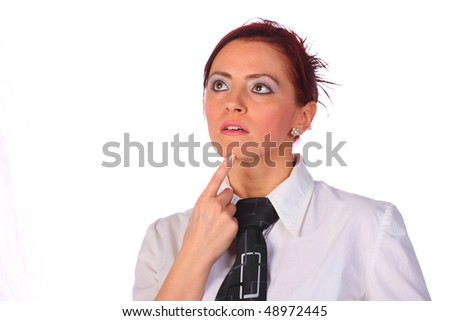 Elegant businesswoman wearing tie thinking, isolated on white - stock photo