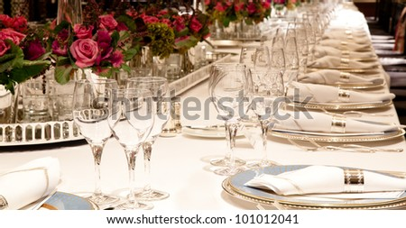 Elegant candlelight  dinner table setting at reception 3 - stock photo