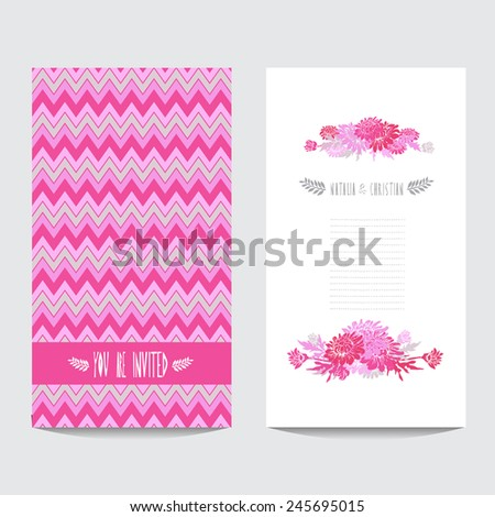 Elegant card with decorative chrysanthemum flowers , design element. Can be used for wedding, baby shower, mothers day, valentines day, birthday cards, invitations. Vintage decorative flowers - stock photo