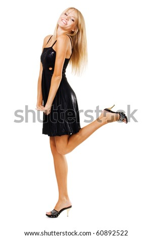 Elegant cheerful woman in black dress, isolated on white - stock photo