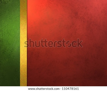 elegant Christmas background, red green and gold trim ribbon with vintage grunge background texture and gradient lighting, abstract formal background menu or website template background or brochure ad - stock photo
