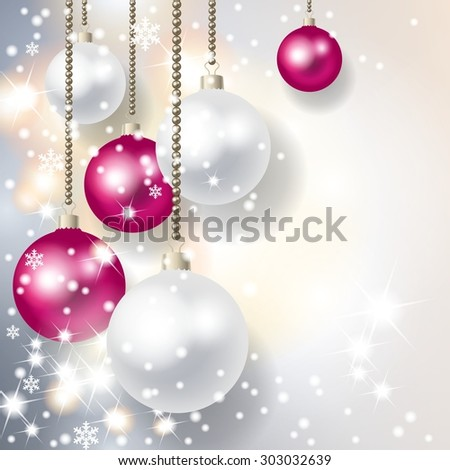 Elegant christmas background with baubles, sparkling lights and snowflakes - stock photo