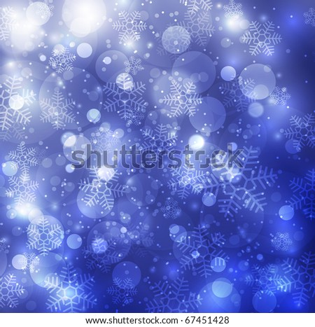 Elegant christmas blue background with snowflakes - stock photo