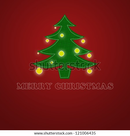Elegant Christmas card on a red background