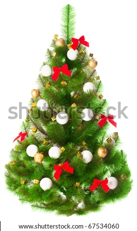 Elegant Christmas tree on a white background decorated with toys - stock photo