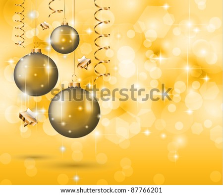 Elegant Classic Christmas Background with new baubles and a lot of colorful glitters for a magic atmosphere. Idea for celebratiion or invitation flyers.