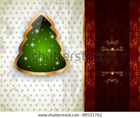 Elegant Classic Christmas Greetings background with lovely tree ideal for flyers, invitations, cards or posters. - stock photo