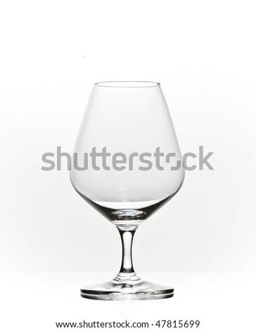 elegant cognac brandy glass - stock photo