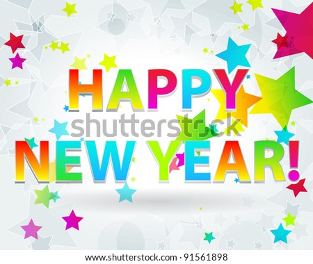 Elegant, colorful New Year's illustration - stock photo