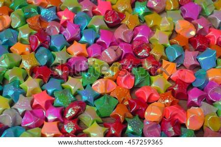 Elegant colorful paper stars background - stock photo