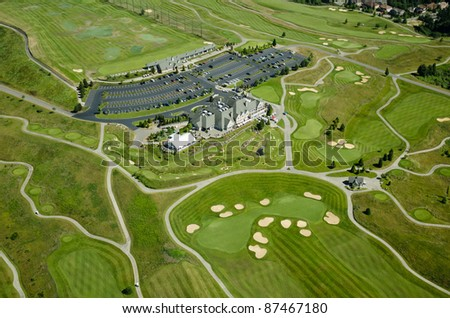 Elegant country club on top of a hill - stock photo
