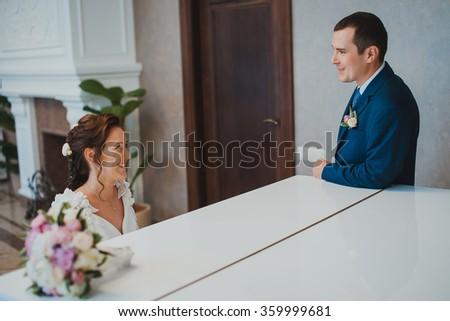 elegant couple in a luxury interior - stock photo