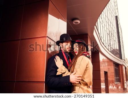 Elegant couple on the street - stock photo