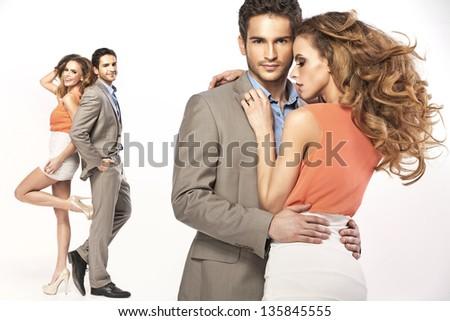 Elegant couple posing - stock photo