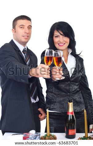 Elegant couple toasting with Champagne and  celebrate Christmas together isolated on white background