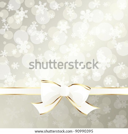 Elegant cream-colored holiday banner with white ribbon (jpg); EPS 10 version also available