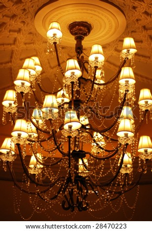 elegant crystal chandelier - stock photo