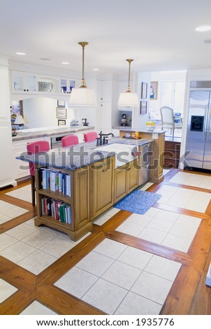 Elegant custom designed country kitchen - stock photo
