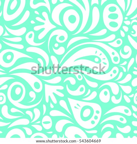 Elegant damask wallpaper. Vintage seamless pattern in white and blue colors. Seamless background.