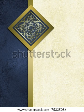 elegant dark blue and white background with antique parchment grunge texture, fancy gold trim design and ribbon stripe, and copy space to add your own title or text to the cover - stock photo