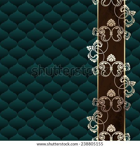 Elegant dark green Rococo background with ornamental margin (jpg); eps10 version also available - stock photo