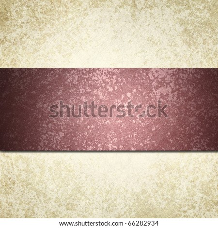 elegant dark pink burgundy ribbon on beige off-white background with textured surface, highlight, and graphic art design layout stripe with copy space to add your own text - stock photo