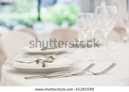 elegant decoration of table in a restaurant - stock photo