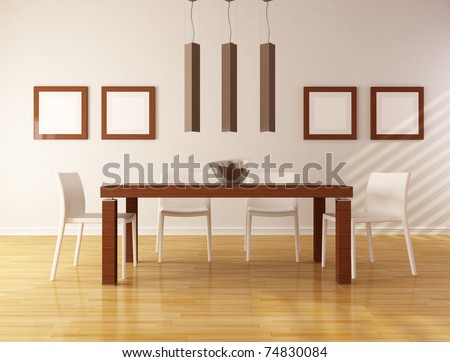elegant dining room with wooden table and white chair - rendering - stock photo