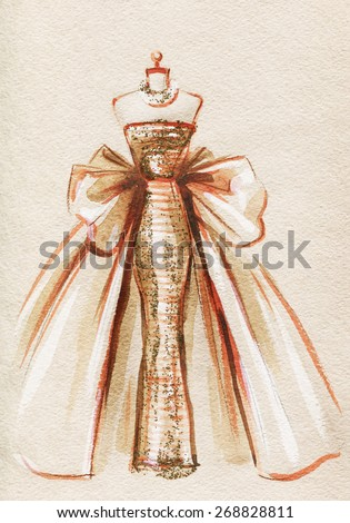 elegant dress .abstract watercolor .fashion background - stock photo