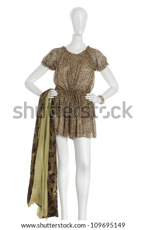 Elegant dress mannequin with scarf isolated