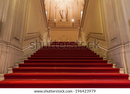 Elegant entrance in an old Italian palace. - stock photo
