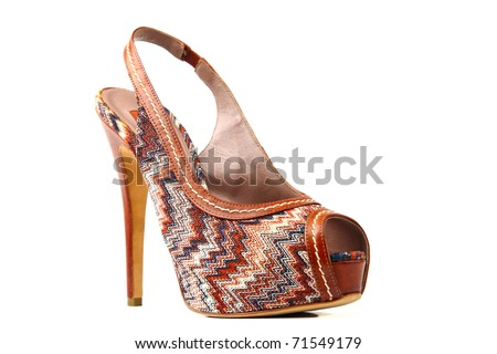 Elegant expensive women shoes isolated on white background. Women's accessories. - stock photo