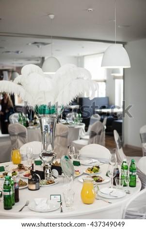 elegant, extravagant, trendy, stylish decorated restaurant,  decorated feathers, vintage, Lviv - stock photo