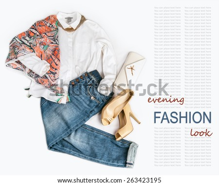 Elegant fashion evening  look with jeans on white background - stock photo