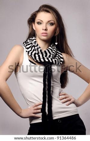 elegant fashionable beautiful woman with long hair - stock photo