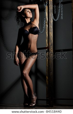 elegant fashionable woman in lingerie
