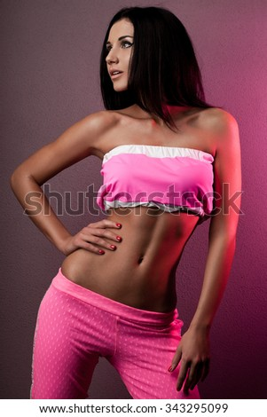 elegant fashionable woman in pink clothes - stock photo