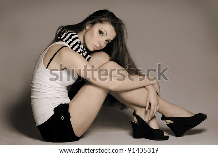elegant fashionable woman with long hair - stock photo
