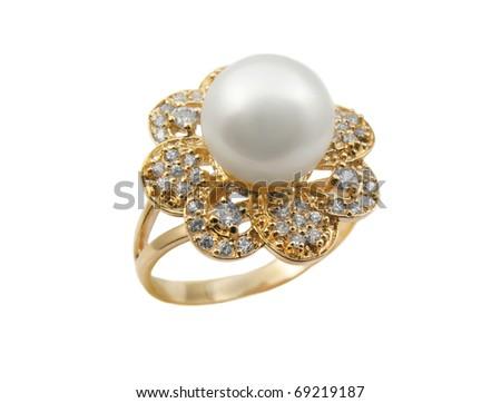 Elegant female jewelry rings with jewel stone - stock photo