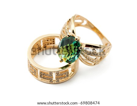 Elegant female jewelry two rings with jewel stone - stock photo