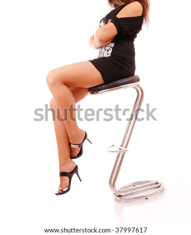 Elegant female legs in classical shoes on a heel - stock photo