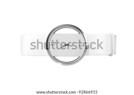 Elegant female wrist watch isolated on white - stock photo