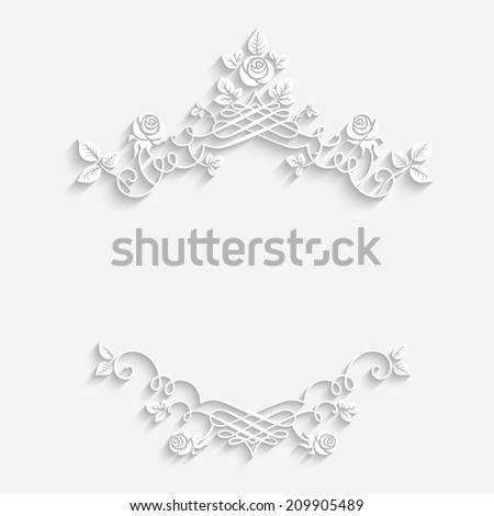 Elegant floral frame with place for text. Raster version. - stock photo