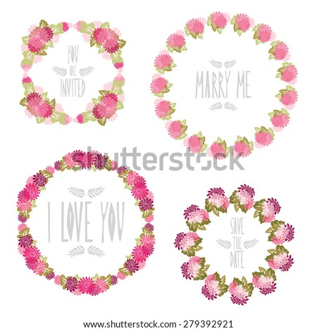Elegant floral frames with gerbera flowers, design elements. Can be used for wedding, baby shower, mothers day, valentines day, birthday cards, invitations. Vintage decorative flowers. - stock photo
