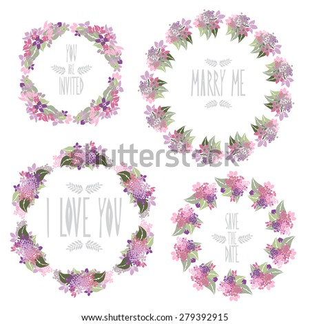 Elegant floral frames with lilac flowers, design elements. Can be used for wedding, baby shower, mothers day, valentines day, birthday cards, invitations. Vintage decorative flowers. - stock photo