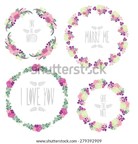 Elegant floral frames with peony flowers, design elements. Can be used for wedding, baby shower, mothers day, valentines day, birthday cards, invitations. Vintage decorative flowers. - stock photo