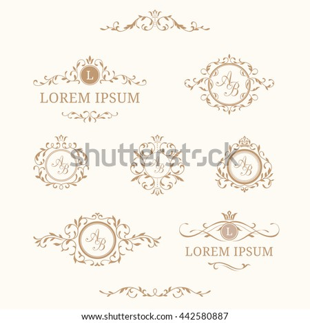 Elegant Floral Monograms And Borders. Design Templates For Invitations,  Menus, Labels. Wedding