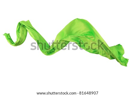 Elegant flowing green satin isolated on white background - stock photo
